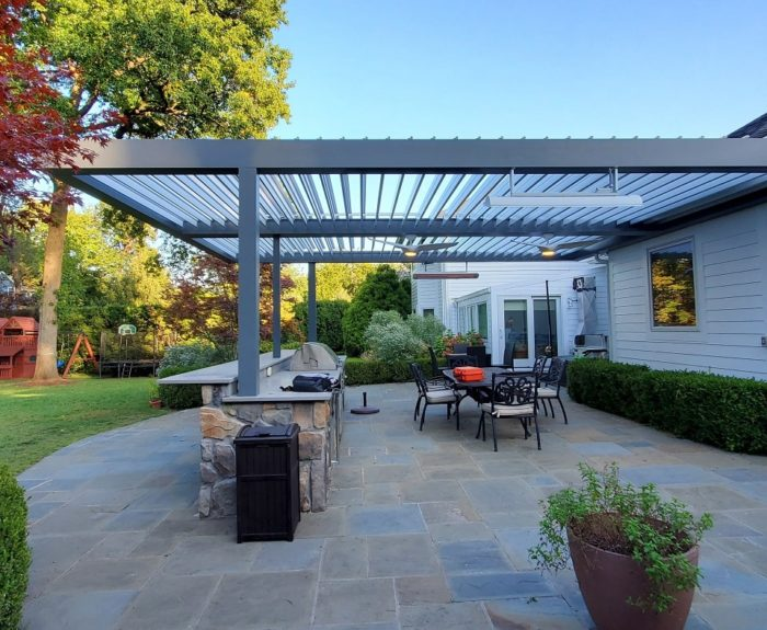 Apollo Louvered Roof Installed over Patio - Breslow Home Design Center