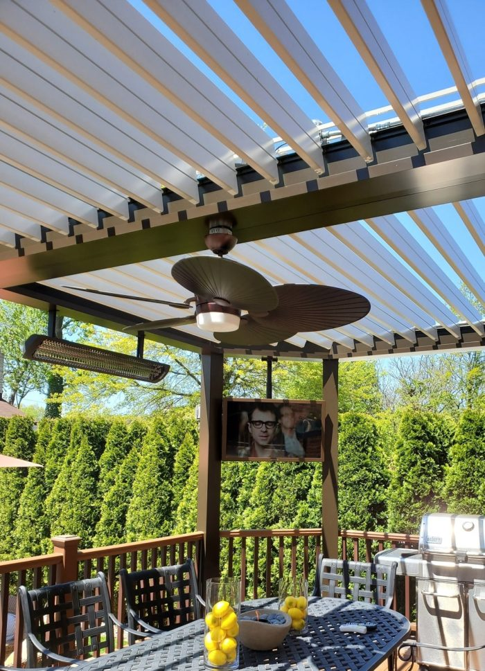 Apollo Louvered Roof System Installed Over Deck - Breslow Home Design Center