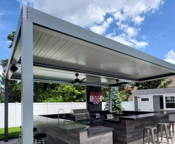 Apollo Louvered Roof System Installed Over Outdoor Kitchen - Louvers Closed - Breslow Home Design Center