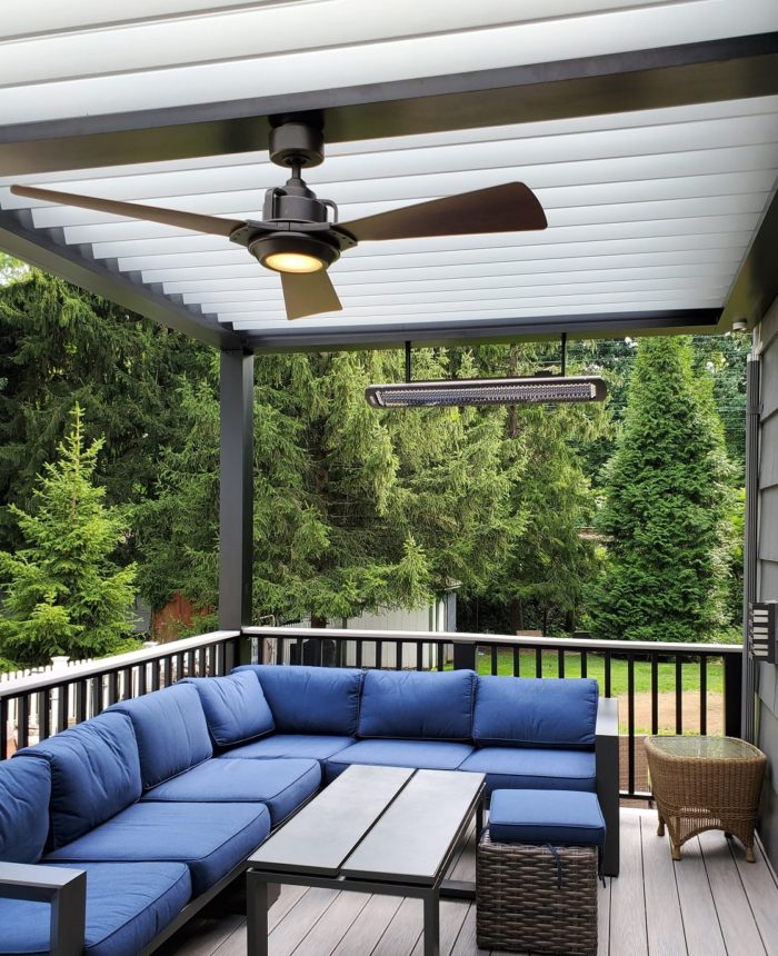 Apollo Louvered Roof System Installed Over Seating Area - Breslow Home Design Center