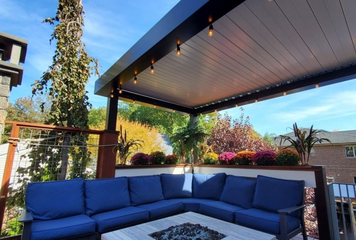 Apollo Louvered Roof System Installed Over Seating Area - Louvers Closed - Breslow Home Design Center