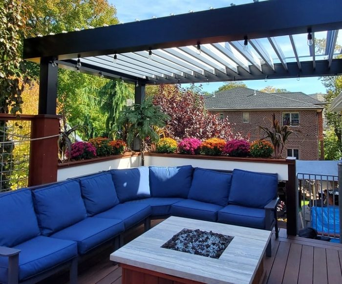 Apollo Louvered Roof System Installed Over Seating Area - Louvers Open - Breslow Home Design Center