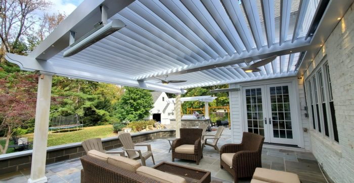 Apollo Louvered Roof System Installed With Custom Columns and Recessed Lighting - Breslow Home Design Center