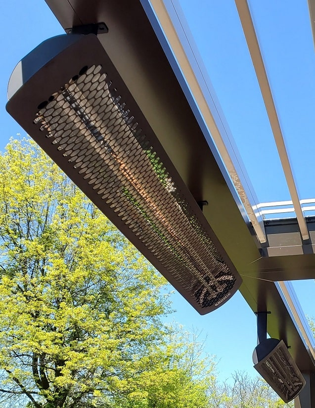 Bromic Outdoor Heaters Installed on Apollo Louvered Roof - Breslow Home Design Center - Breslow Home Design Center
