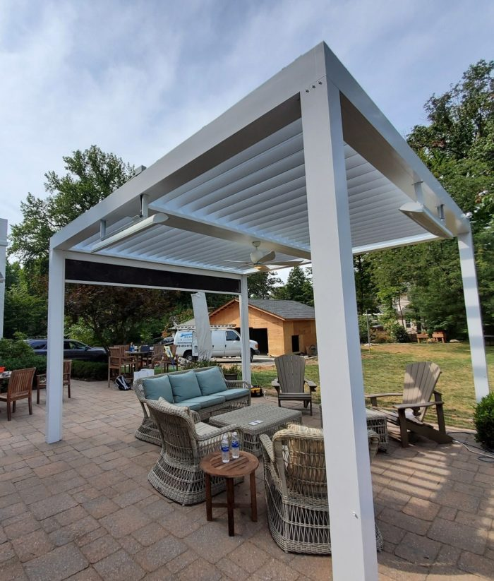 Freestanding Apollo Louvered Roof System Installed Over Patio - Breslow Home Design Center
