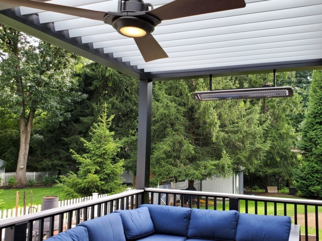 Outdoor Fan and Heater Installed on Apollo Louvered Roof System - Breslow Home Design Center