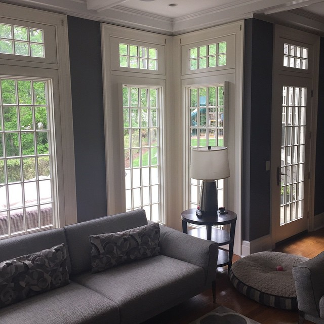 living room without shutters